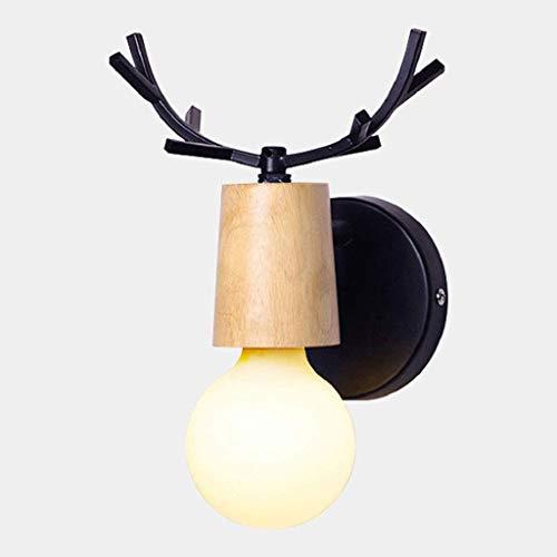 SPNEC Tête Unique métal Deer Head Lumière, rétro Sconces Hall d'entrée Mignon Tenture Salon Bureau Chambre Enfant Lampe Salle de Bain Miroir Wall Light (Color : Black)