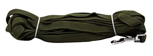 DogHeaven Correa de arrastre de tela verde marino con pernos y correa de mano, cuerda de entrenamiento, 5 m de longitud