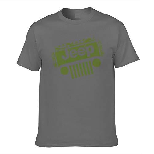 Men's T-Shirt Jeep-Printed Trendy Short Sleeve Tees Men Top T Shirts Asian Size Deep Heather