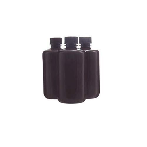 KENZIUM - Pack 12 x Frascos de HDPE con Tapa, Cuello Estrecho, de 500 ml   Ámbar, Botellas Redondas Opacas, Boca Estrecha de Polipropileno, Para Laboratorio, Almacenamiento Muestras Sólidas y Líquidas