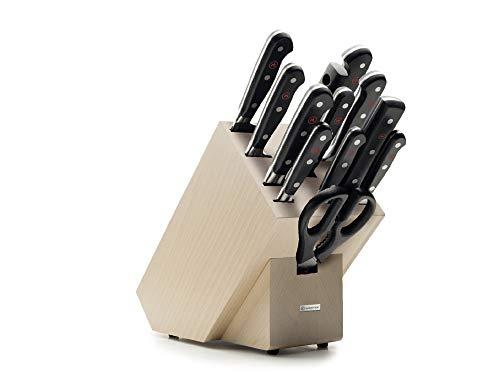Wüsthof Classic 1090171201-Ceppo di Legno (faggio) con 9, forchetta da Carne, affilacoltelli, Forbici, Set di coltelli da Cucina, Acciaio Inox