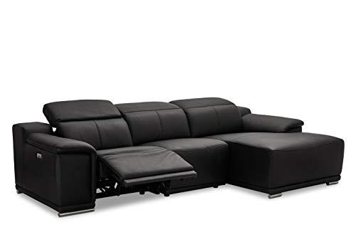 Ibbe Design Modul Sofa L Form Ecksofa Schwarz Leder Heimkino Couch Rechts Chaiselongue Alexa mit Elektrisch Verstellbar Relaxfunktion, 282x160x73 cm