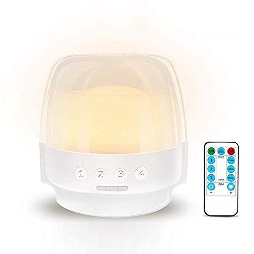 knowledgi - Lámpara de Mesa LED Regulable de mesilla de Noche con Mando a Distancia, Temporizador, batería Recargable de 2800 mAh para Dormitorio, Puerta, Camping, Interior, Exterior