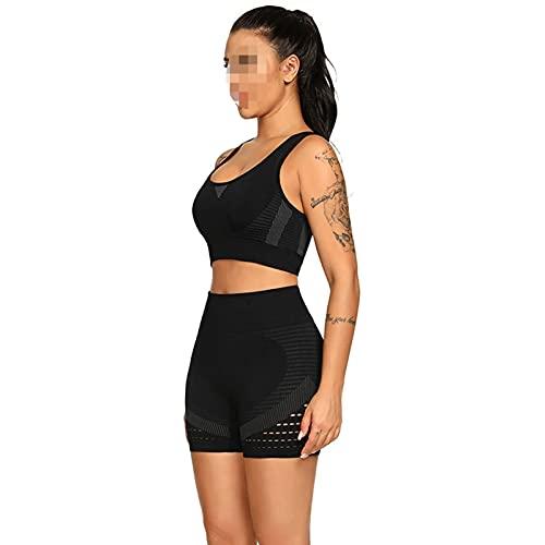 YZAIBB Conjuntos de yoga para mujer, 2 piezas, traje de yoga de cintura alta sin costuras, sujetador deportivo acanalado, pantalones cortos ajustados (color: A, tamaño: S)