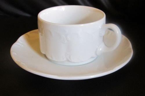 Rosenthal Monbijou Classic Rose weiß: Kaffeetasse / Tasse mit Unterteller
