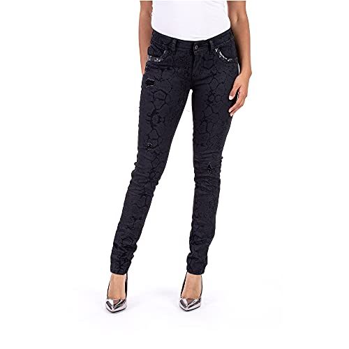 Blue Monkey - Damen Jeans Laura 10350 Gr. 31 Black Animal Print tolle Passform hoher
