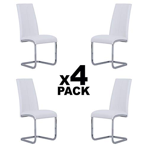 Adec - Smile, Pack de 4 sillas de Comedor, Cocina o Salon, Acabado en símil Piel Color Blanco, Medidas: 45 cm (Ancho) x 51 cm (Fondo) x 103 cm (Alto)