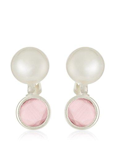 Córdoba Jewels   Pendientes en plata de Ley 925. Diseño Tú y Yo Rosa de Francia
