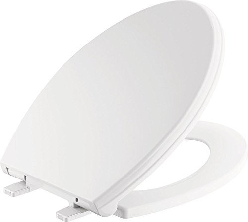 Delta Faucet 811901-WH Wycliffe Elongated Slow-Close Toilet Seat with Non-slip Seat Bumpers, White