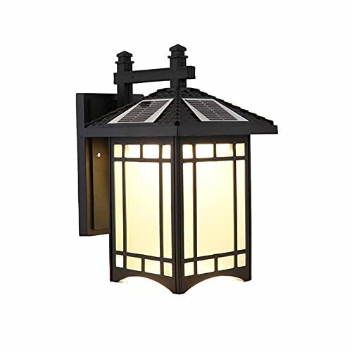 Linckry Luces solares al Aire Libre, Modos de iluminación de Linterna de Pared Solar de Bombilla cálida, lámpara Solar Impermeable IP65 para jardín, Patio, Entrada, Garaje