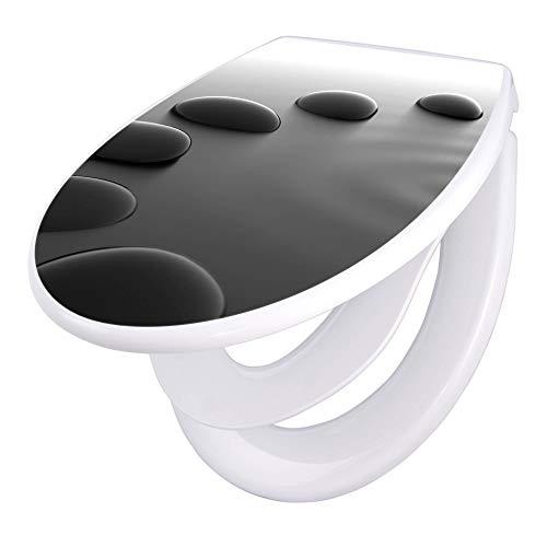 banjado Familien WC Sitz mit Absenkautomatik   Toilettendeckel mit Kindersitz   Klodeckel weiß   Toilettensitz mit Soft Close   44 x 37 cm WC Deckel mit Motiv Schwarze Steine