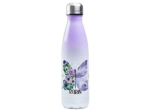 Thermosflasche 500ml mit Namen personalisiert aus Edelstahl, Lila-Weiß,...