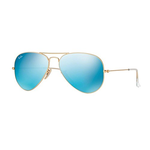 Aviator Large Metal Icons Sunglasses 58mm matte gold cry. Blue mirror