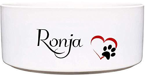 Cadouri Keramik Hundenapf Futternapf Wassernapf mit Name deines Hundes (Herzpfote) ︎ personalisiert ︎ - 1.300 ml