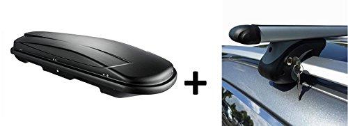VDP JUXT 600 dakkoffer, zwart, inhoud 600 liter, afsluitbaar + aluminium dakraildrager voor Volvo V40 combi VW 96-04