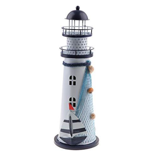 Homyl Wunderschöner Leuchtturm aus Eisen mit LED Beleuchtung Dekoration - L