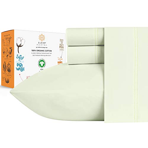 100% Organic Cotton Sheets - Crisp and Cooling Percale Weave, GOTS Certified 4 Piece Bedding Set, Deep Pocket with All-Around Elastic (Queen, Pistachio Green)