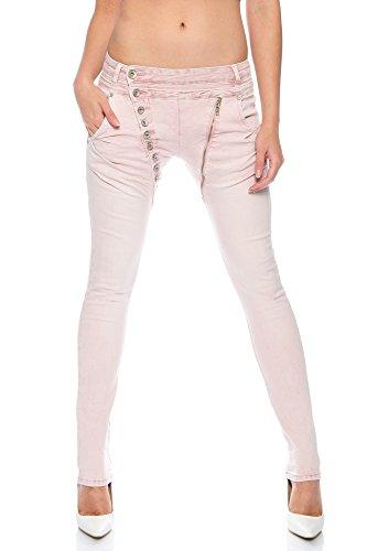 Crazy Age Boyfriend Baggy Jeanshose mit schräger Knopfleiste und Reißverschluß C 613 (L=40, Rosa)