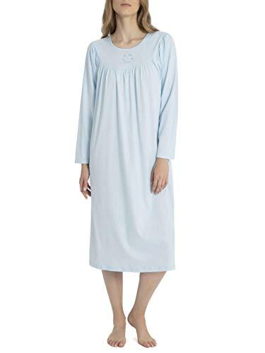 CALIDA Damen Soft Cotton Langarm Nachthemd, Hellblau, 46
