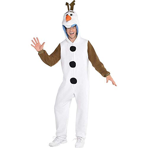 HalloCostume Adult Zipster Olaf One Piece Costume Compatible with Frozen Themes Cute Design