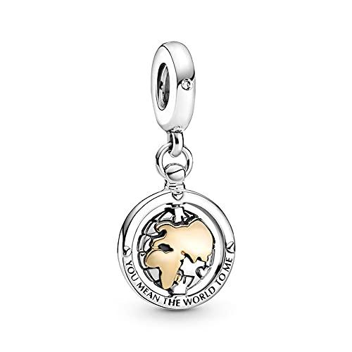 Pandora 925 colgante de plata esterlina Diy Bead Spinning World Dangle Charm Fit moda mujer pulsera brazalete joyería de regalo