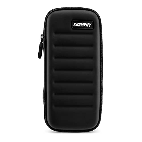Champify® Darttasche schwarz mit Haltesystem gegen Verrutschen der Dartpfeile | Hard-Case zum Schutz für 3 Steeldarts oder Softdarts und vielen Taschen für Dart Flights und weiteres Darts Zubehör