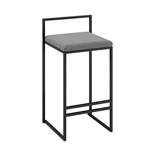 Chaise de bar Repose-pieds surélevé Chaise de salle à manger rétro rembourrée Jambes en métal rembourrées Cuisine Restaurant Tabouret de bar surélevé (hauteur du siège: 65CM)Charge maximale 200kg Gris