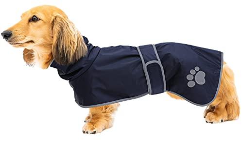 Geyecete Abrigo de invierno para perro, acolchado térmico, con forro cálido de franela, impermeable para perro al aire libre con bandas ajustables para perros pequeños, medianos, grandes, azul marino