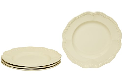 Red Vanilla FN900-402 Classic Salad Plates (Set of 4), 8.75', White