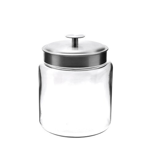 Anchor Hocking 77978 Mini Montana Jar with Brushed Aluminum Metal Cover, Glass, 96-Ounce - 3 quarts
