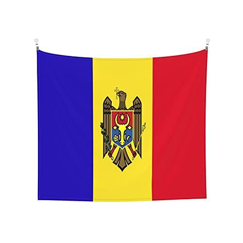 Gobelin / Wandbehang, Motiv: Flagge von Moldawien, Boho, beliebt, mystisch, für Yoga, Hippie, für Wohnzimmer, Schlafzimmer, Wohnheim, Heimdekoration, Schwarz & Weiß