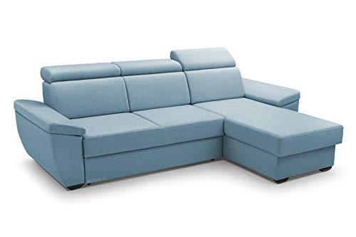 MOEBLO Sofa mit Schlaffunktion und Bettkasten, Couch für Wohnzimmer, Schlafsofa Federkern Sofagarnitur Polstersofa Wohnlandschaft mit Bettfunktion - Alano (Blau, Ecksofa Rechts)