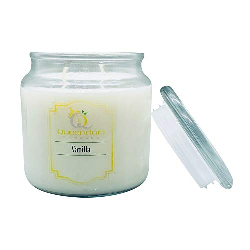 N/A. Natural Soy Wax Candle, Vanilla Fragrances 40-70 Hrs Burn Time, Eco-Friendly Reusable Glass Jar Highly Scented and Long Lasting 16 Oz White Jar