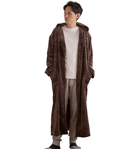 ナイスデイ 着る毛布 ブラウン L (着丈135cm) mofua モフア あったか ルームウェア フード付き