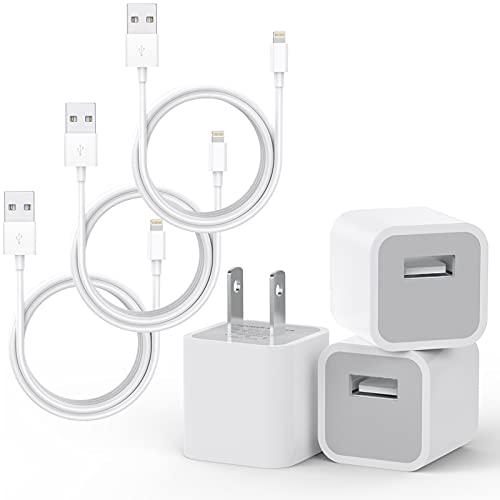 ZUQIETA iPhone-Ladegerät, 3 Stück (Apple MFi zertifiziert), Lightning-Kabel, Datensynchronisations- und Ladekabel mit 3 USB-Wand-Ladegerät-Reiseadapter, kompatibel mit iPhone 12 Pro/11 Pro/Xs/XR/X/8/8Plus und mehr