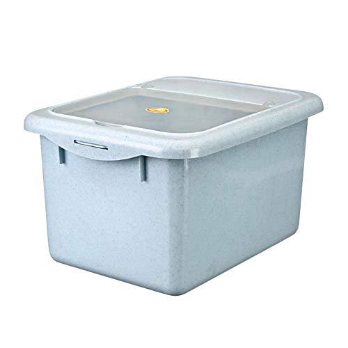 HXCH Juego de recipientes para alimentos y dulces para mascotas con cuchara para gatos o perros, 15 L, caja de almacenamiento de alimentos sellada a prueba de humedad, color azul