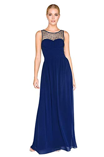 Little Mistress Damen Kleid Neck Embellished Dress, Blau (Navy), 38 (Herstellergröße: 10)