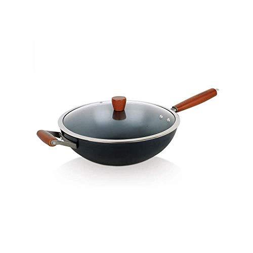 Pre-Seasoned Carbon Steel Pow Wok Red Elm Traditional Hand Hammered Stir-Fry Pan with Helper Wooden handle
