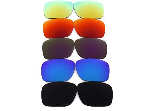 Galaxy Lentes de Repuesto para Oakley Holbrook Black&blue&purple&red&gold 5 Pares - Transparente, Regular