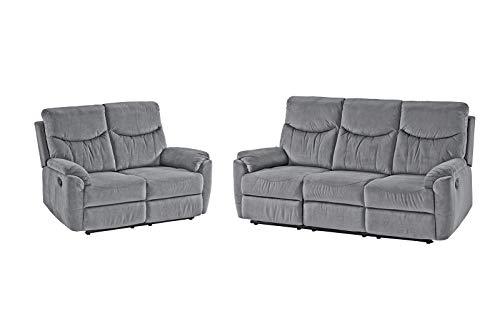 lifestyle4living Couchgarnitur aus 2-Sitzer und 3-Sitzer Sofa in Grau, Microfaser-Bezug, Komfortschaum Polsterung | Perfekte Relaxsofas für entspannte...