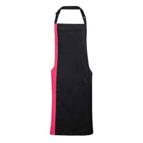 Premier Unisex Schürze mit Brustlatz/Arbeitsschürze, kontrastfarbener Einsatz (2 Stück/Packung) (Einheitsgröße) (Schwarz/Pink)