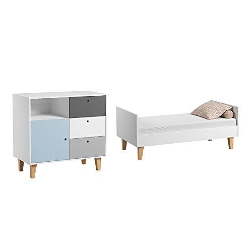 Lit évolutif 70x140 et Commode à langer Concept - Bleu