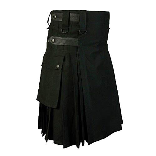 Cuteelf Men Black Cotton Dienstprogramm Kilt, Mode Sport Dienstprogramm Kilt, Verstellbare Lederriemen Herren Bottom Volltonfarbe Punk Retro Gothic Tasche Scottish Fashion Skirt