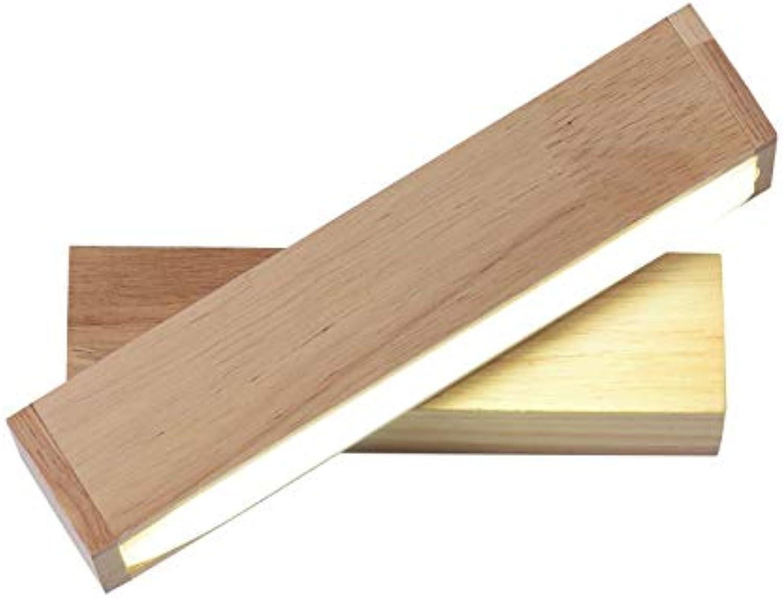 Wandleuchte, LED-Wandleuchte aus massivem Holz mit Schalter, die Schlafzimmer-Nachttischlampe kreative Beleuchtung, weies Licht dreht