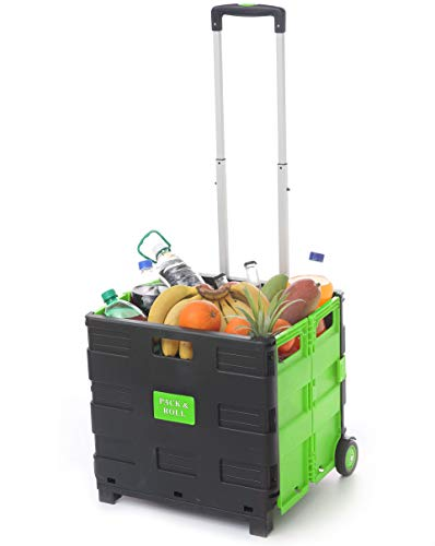 Einkaufstrolley Einkaufskorb Klappbar Grün | Belastbar bis 35kg | Ladekapazität 50L | Mit Ausziehgriff