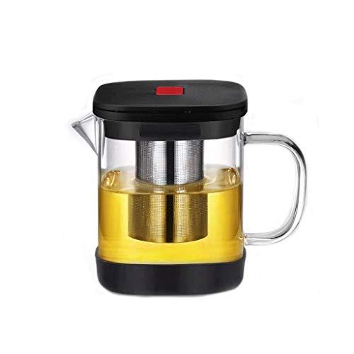 WZHZJ Tetera con infusor de té Flojo, Cristal Claro de la Caldera de té Pot con Filtro y Calentador, Hojas Sueltas, 304 de Filtro de Acero Inoxidable y Sistema de té de la Tetera