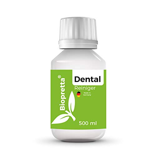 Biopretta Dentalreiniger Entfernt Belägen und Verfärbungen - für Gebisse, Prothesen, Zahnersatz & Zahnspangen (500ml)