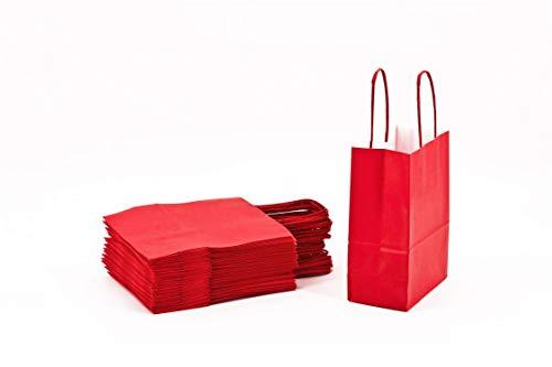 Papier-Shopper mit Griff aus Papier, Rot, 26 x 11 x 34 cm, 25 Stück