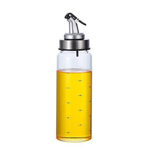 MXSM Dispensador de Aceite de Oliva, Juego de Dispensador de Aceite y Vinagre, Botellas de Vidrio Transparente, Botella de Aceite, Fácil Recarga y Limpieza, Sin Goteo,300ml