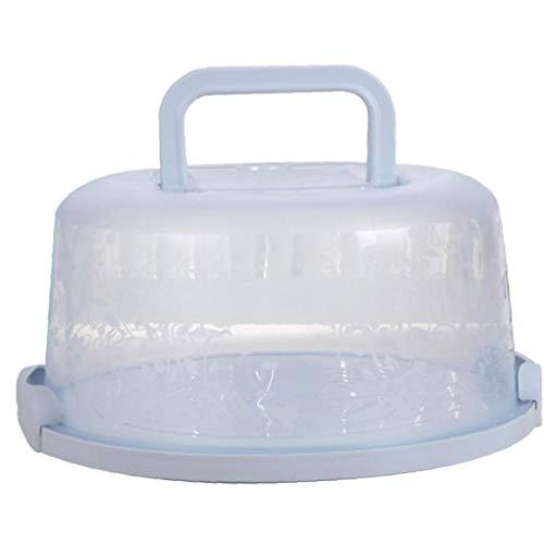 ZYCX123 Mango portátil de la Torta de la Caja de Transporte de contenedores Pie de Almacenamiento de la Magdalena de luz Azul Redondo Transporte Tapa Clip Lock Productos para el Hogar